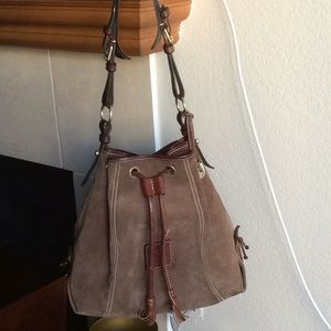 Dooney and Bourke Brown Suede Drawstring Bag